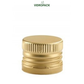 Aluminum pre-threaded screw cap PP28 (28x18mm) and security ring gold