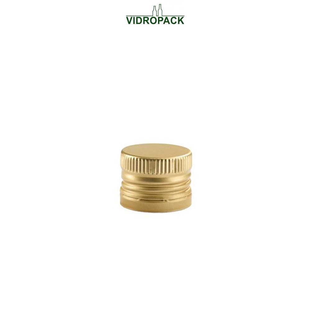 Aluminum pre-threaded screw cap MCA28 (28x17mm) and security ring gold