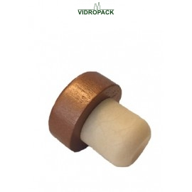 Bar-top stoppers 22,1mm syntetic leg with bronze colored wood top (34,5x13mm)